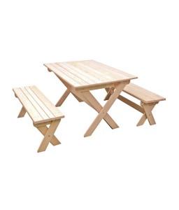 Стол деревянный раскладной и 2 лавки